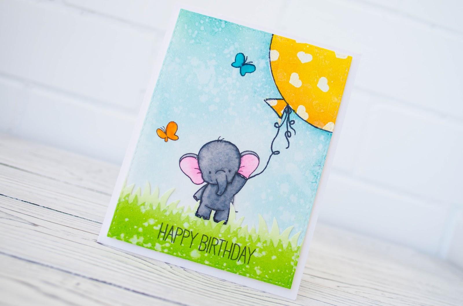Картинки, открытка со слоном и шариками своими руками