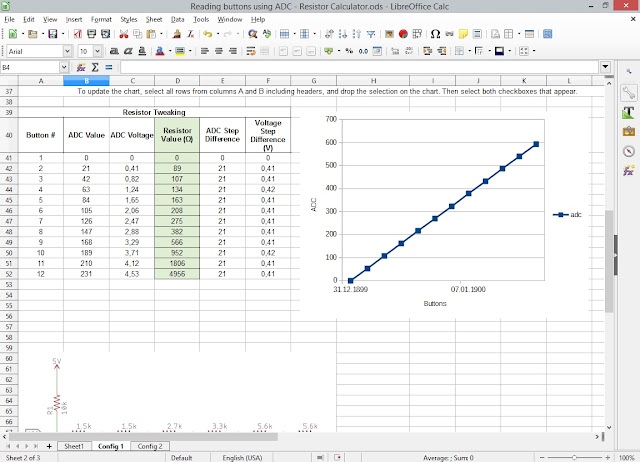 Spreadsheet for calculating resistors in ADC switch reading 3
