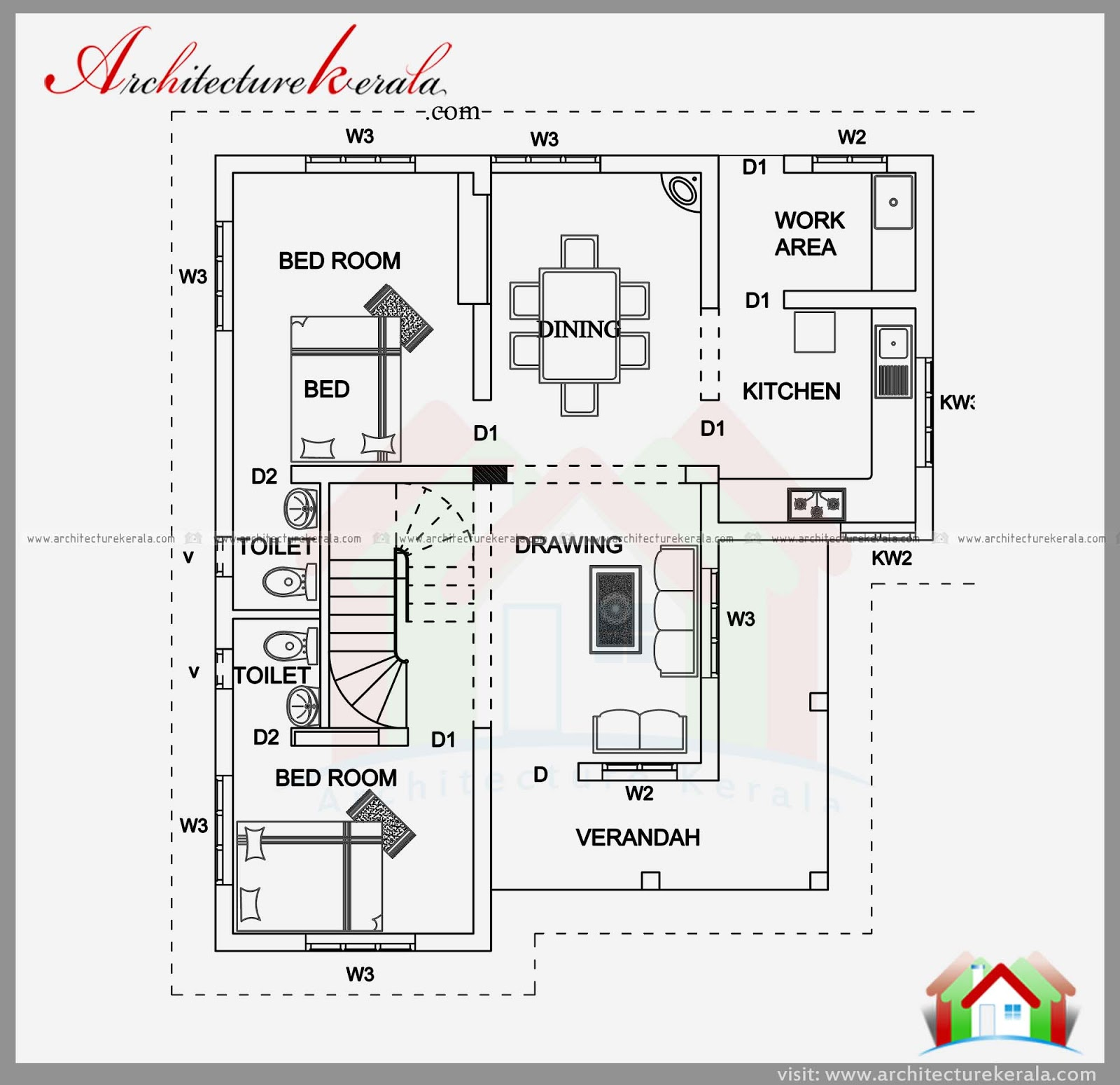 1900 sqft house plan and elevation architecture kerala for House plans 1900