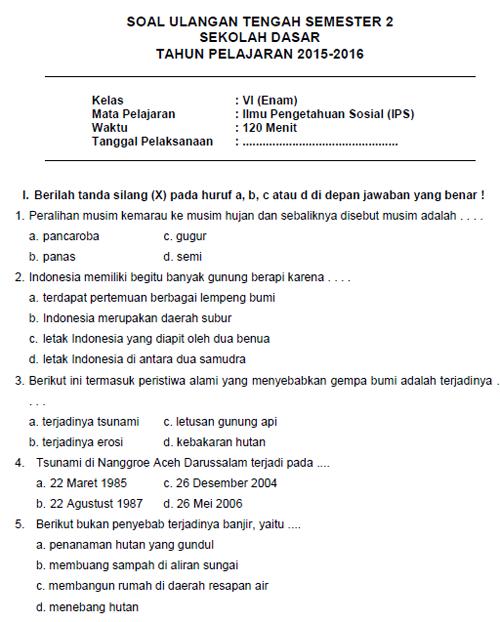 Soal Latihan UTS IPS SD Kelas 6 Semester II + Kunci Jawaban