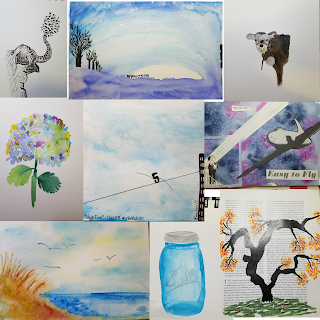 art collage with elephant, night sky, calf, hydrangea flower, the number 5 walking a tightrope, east coach beach dunes, blue ball jar and cherry blossom tree on a book page.