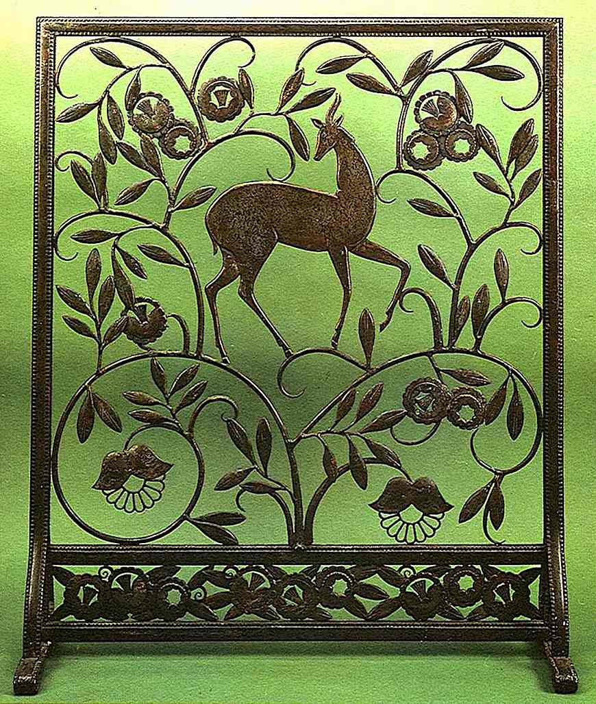 1930s metal fireplace screen, a color photograph