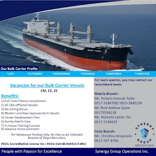 Hiring Officers, Engineers For Bulk Carrier Ship