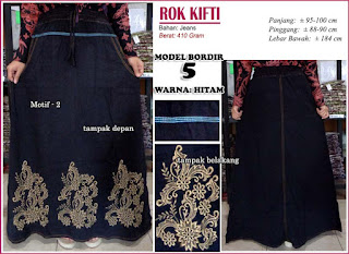 Rok jeans dengan hiasan bordir cantik - kifti model 5 motif 2