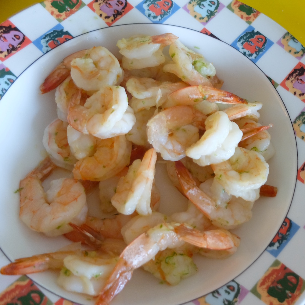 Garlic-lime baked shrimp.