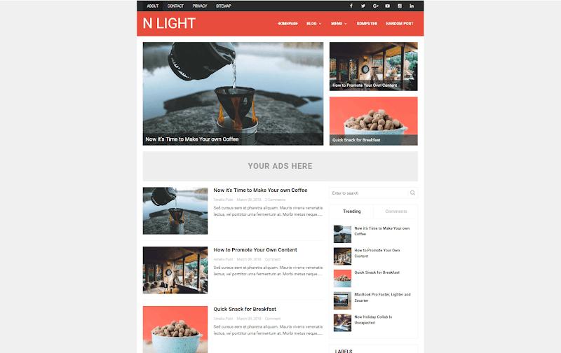 N Light Premium Blogger Template - Responsive Blogger Template