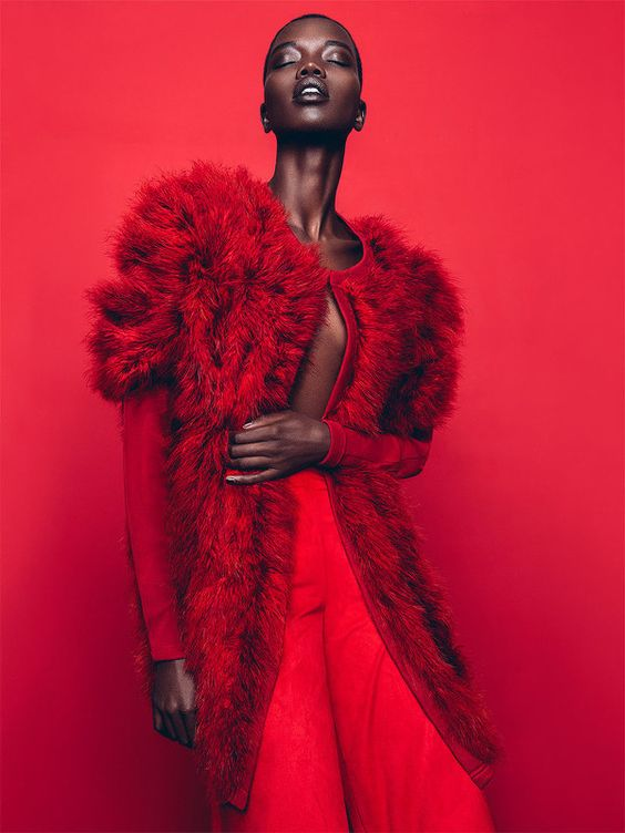 Red fashion editorial - Nykhor Paul in Marie Claire South Africa