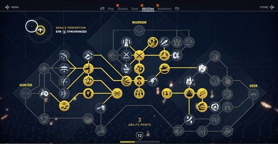 Assassin's Creed Origins ACO, Best Skills, Skill Tree Guide, Hunter, Warrior, Seer