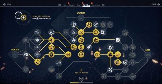Assassin's Creed Origins ACO, Best Skills, Skill Tree Guide, Hunter, Warrior, Seer