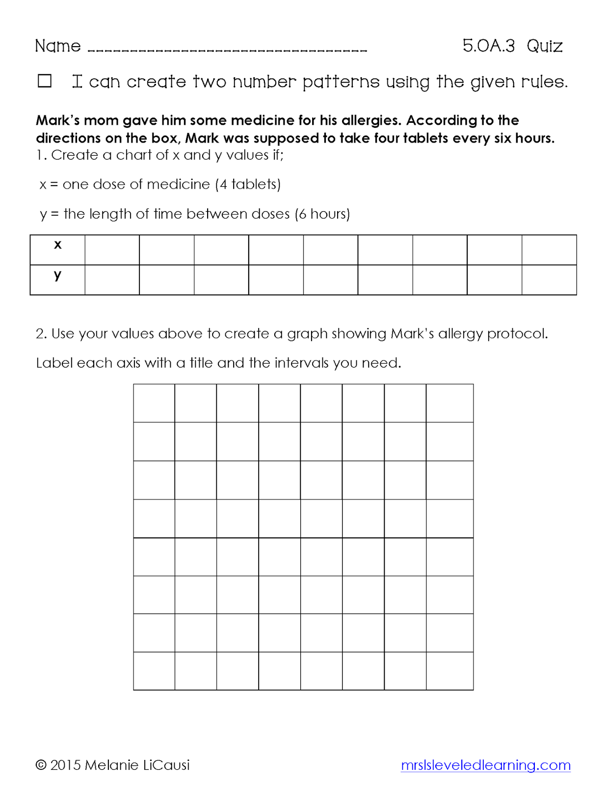 Math Graphing Worksheet For 6th Graders