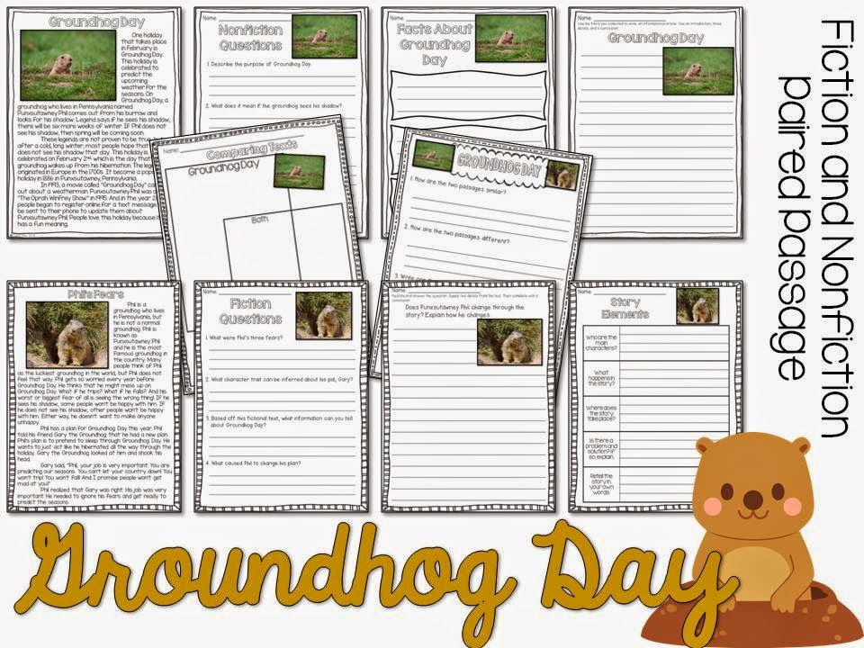 Groundhog Day paired passages- fiction and nonfiction passage with comprehension pages