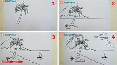 Cara menggambar pemandangan yang mudah