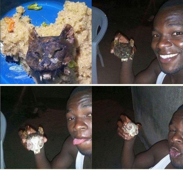 Wait, so people eat cat head? Viral photo of a man eating cat head with okro soup
