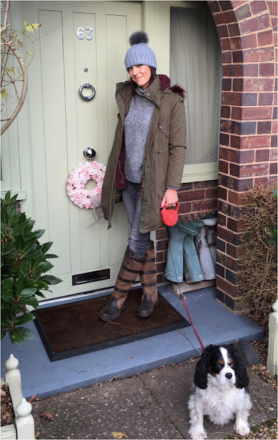 My Midlife Fashion, Hush Parka, Faux Fur pom pom hat, zara chunky knitted polo neck, massimo dutti skinny jeans