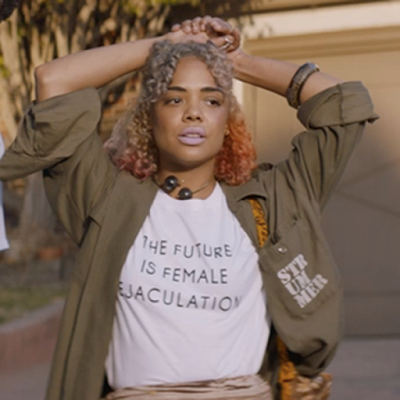 'The Future Is Female Ejaculation' shirt worn by Tessa Thompson in Sorry To Bother You. PYGOD.COM