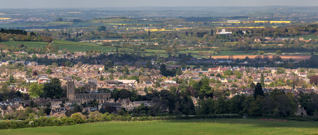 Looking towards the Gloucestershire Cotswold town of Tewksbury in this panoramic image