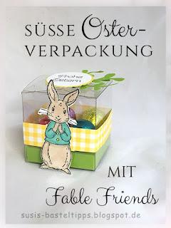 Osterverpackung mit transparenten Geschenkschachteln und Fable Friends Stempelset von Stampin' Up! demonstratorin in coburg acetat verpackung ostern osterhase geschenk kreisstanze