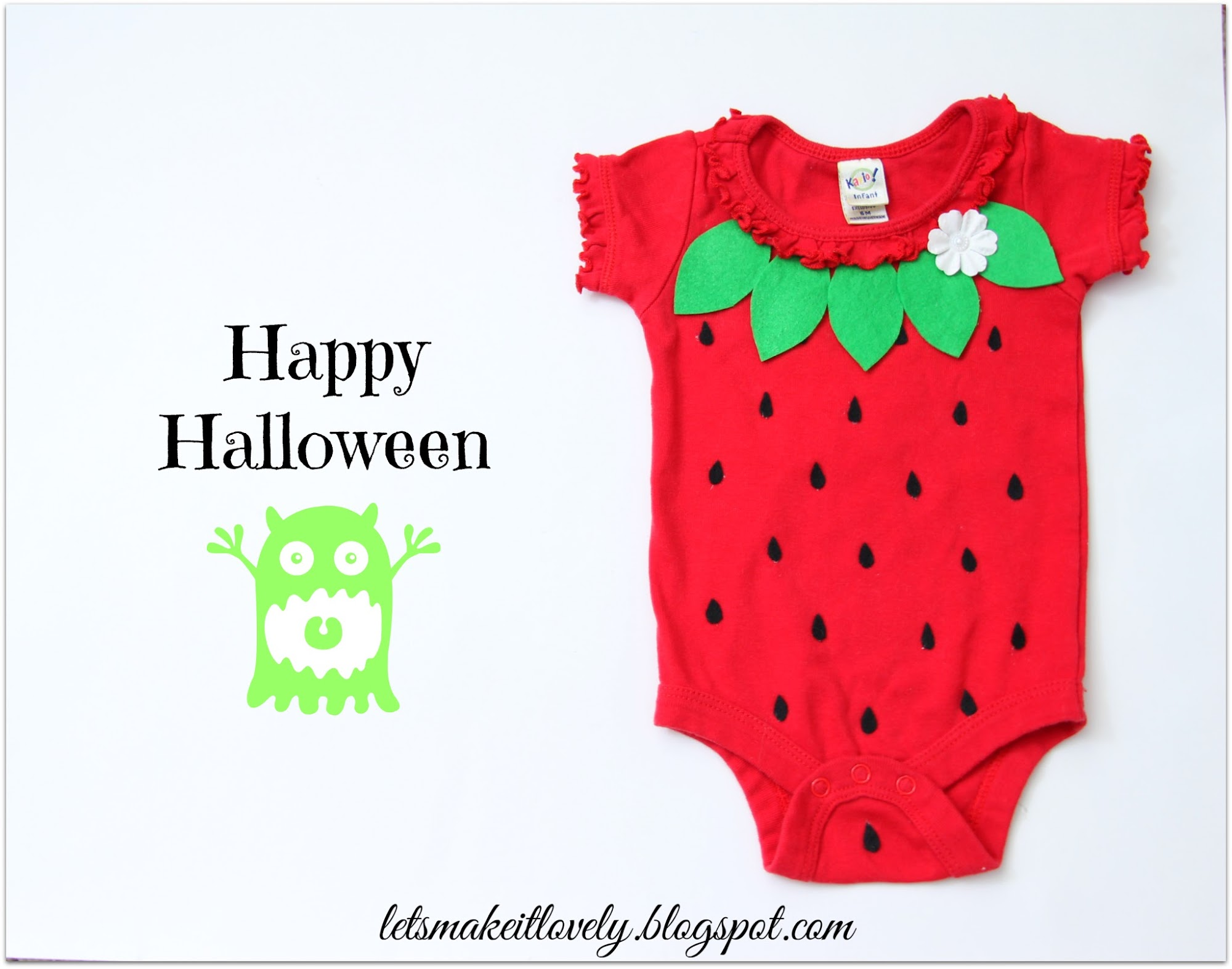DIY Baby Strawberry Costume, DIY Simple Halloween Costume for Infant, Easy Handmade Costume