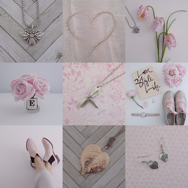 Pink and metallic Instagram collage