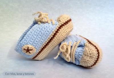 Con hilos, lanas y botones: patucos estilo converse de ganchillo para bebé