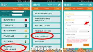 menu melihat transaksi di bni online banking