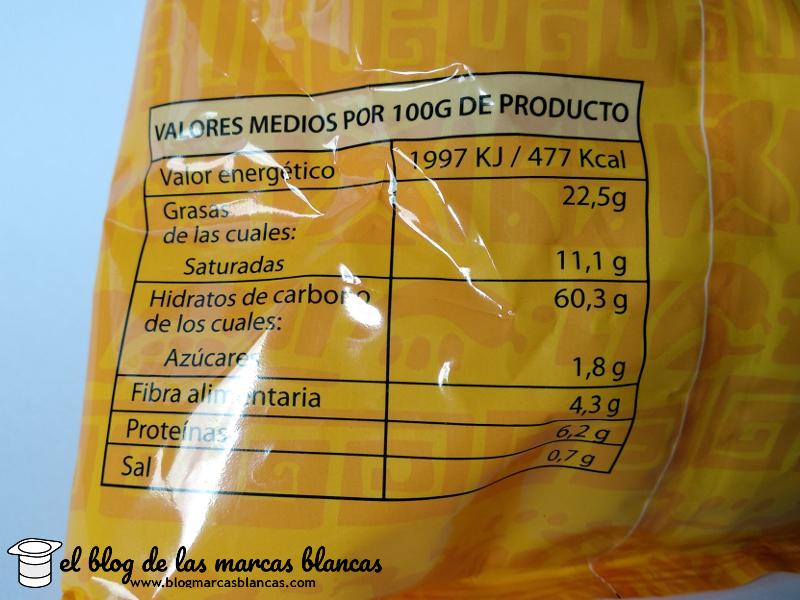 Valores nutricionales de los Triángulos de maíz tipo Doritos Hacendado de Mercadona elaborados con grasa de palma.