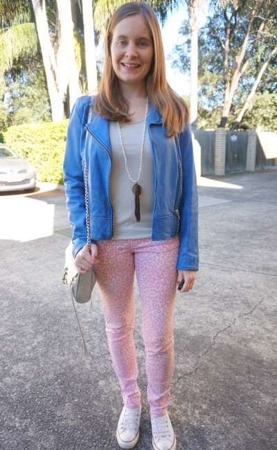 cobalt leather jacket, pink leopard print jean metallic silver tank   Away From Blue colourful winter outfit