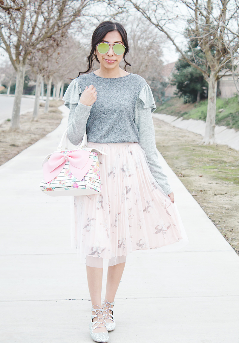 modest outfit shoulder ruffle sweater outfit tulle skirt bow purse silver flats