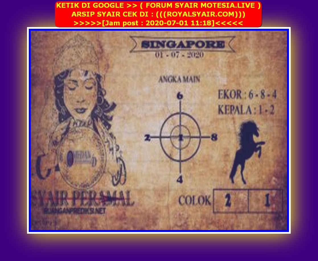 Kode syair Singapore Rabu 1 Juli 2020 81
