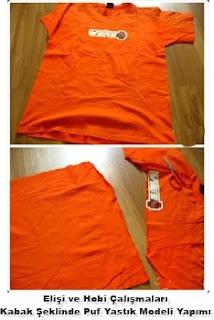 Kendin yap, Eski Tişört (Bluz) ile Puf Koltuk Yastık Modeli Yapımı, Re simli Açıklamalı  1