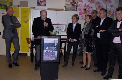 Inauguration de l'exposition 2014-2015 : M. Basset, Inspecteur et Mme Jarrot, Maire de Montceau