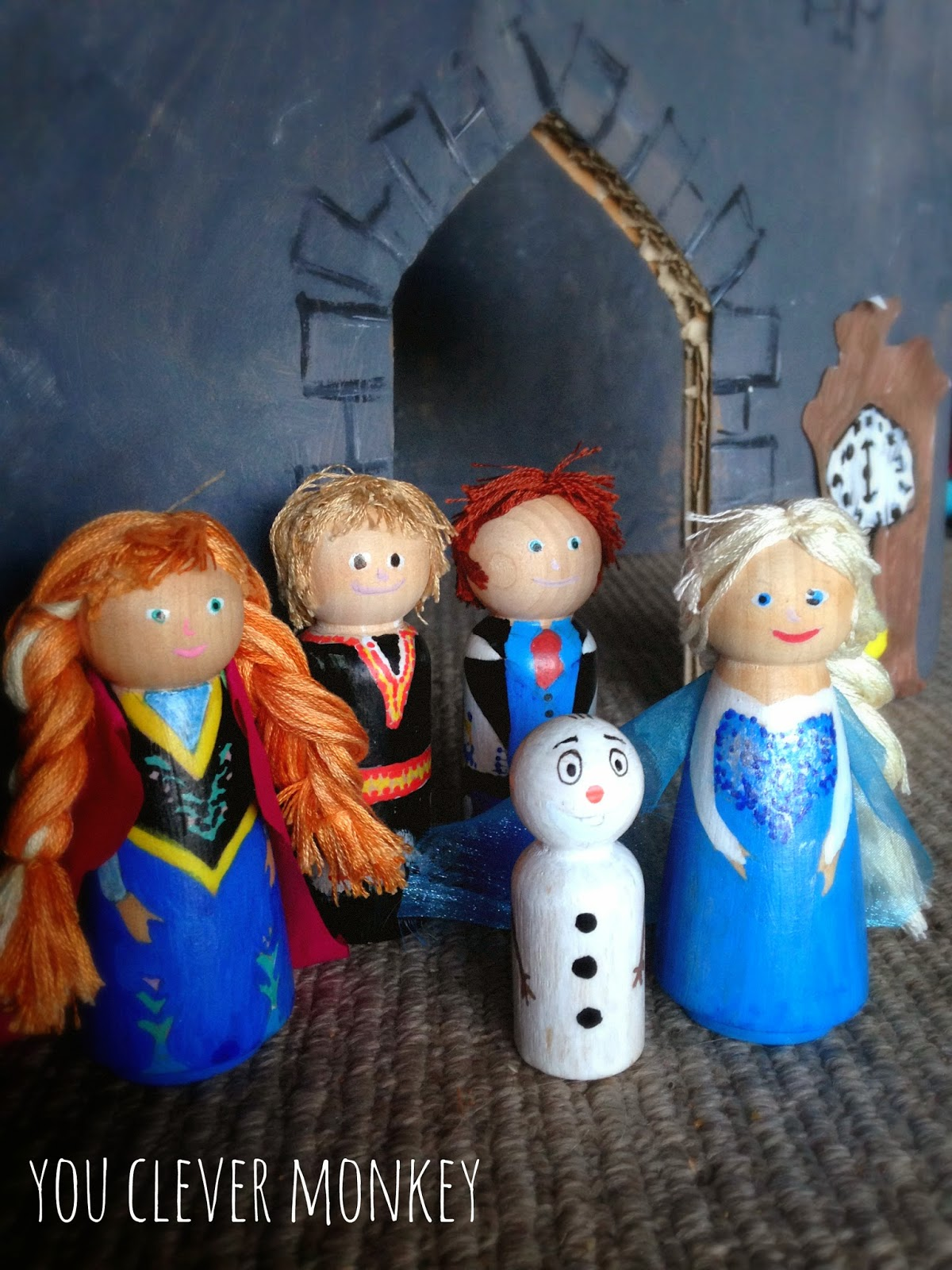 DIY Frozen Peg People - how to make your own Frozen characters for play from simple wooden peg dolls. Step by step instructions to help you create your own | you clever monkey