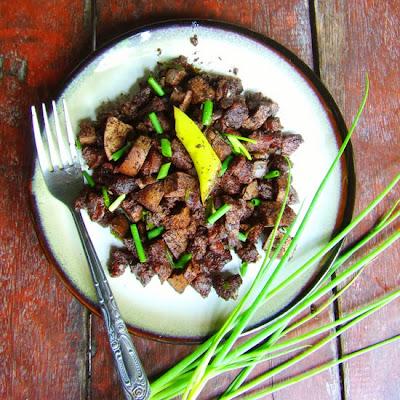pinoy food recipe, blood stew, filipino dishes, pork dinuguan, crispy dinuguan recipe