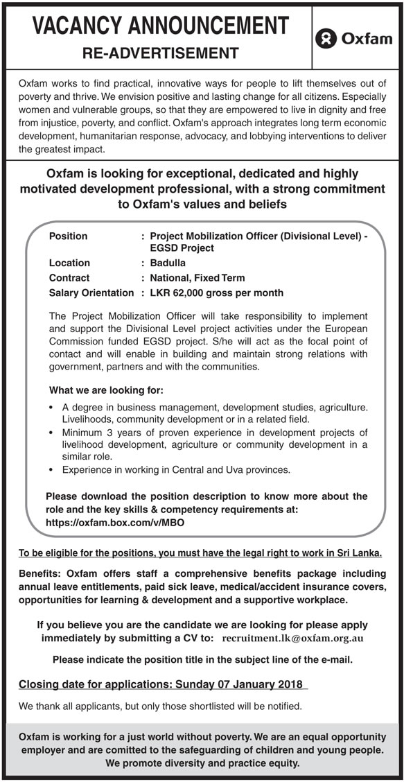 Project Mobilization Officer