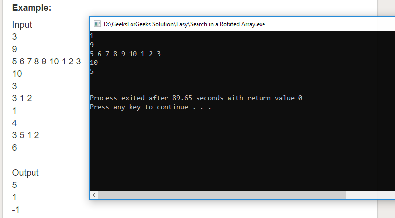 "Geeksforgeeks Solution For "" Search in a Rotated Array """
