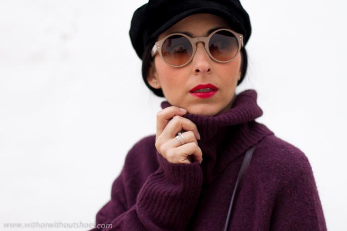 Look blogger influencer moda valenciana Cómo combinar un Vestido de lana Botas Over the knee y gorra marinera baker boy