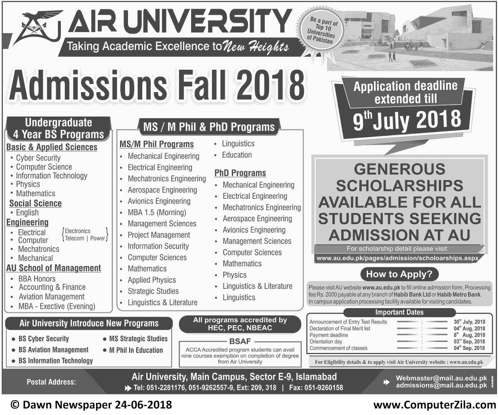 Air University Admissions Fall 2018 Date Extended