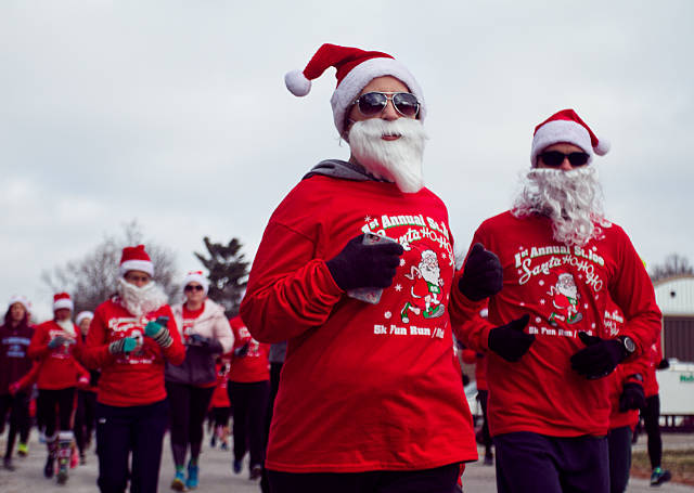 Runners start out on the St. Joe Santa 5K course
