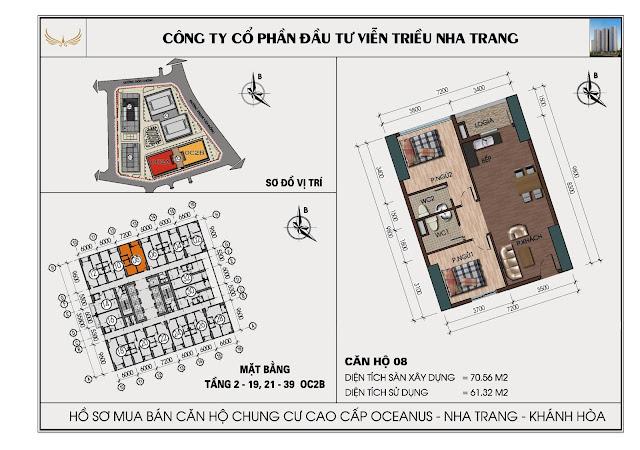Sơ đồ căn hộ số 08 tòa OC2BViễn Triều Nha Trang