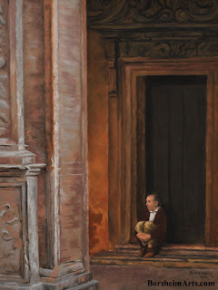 Pensive in Bologna, Italy original pastel figure painting for sale framed