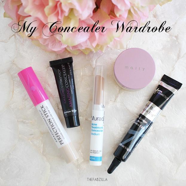 define concealer wardrobe, amazing cosmetics perfection stick, amazing cosmetics a little amazing concealer, mural acne treatment concealer, mally perfect prep, it bye bye under eye