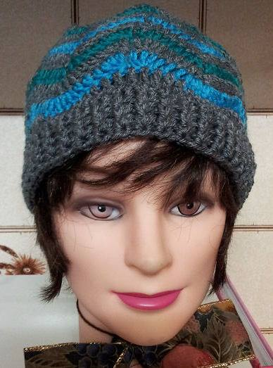 crochet chevron hat, adult size, ripple stitch
