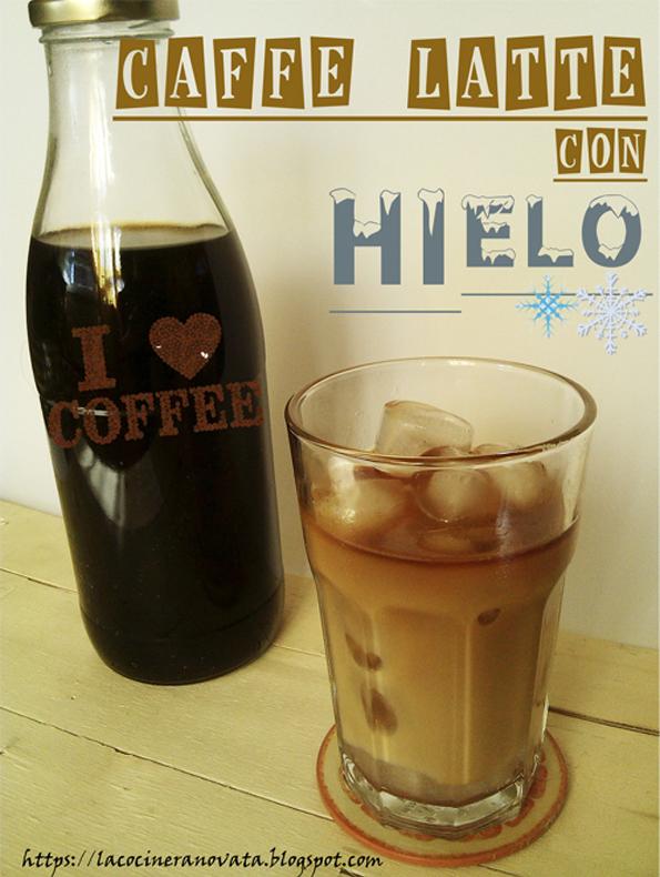 CAFFE LATTE CON HIELO Y VAINILLA  RECETA COCINA VERANO cafe helado leche condensada casera sin azucar edulcorante liquido la cocinera novata