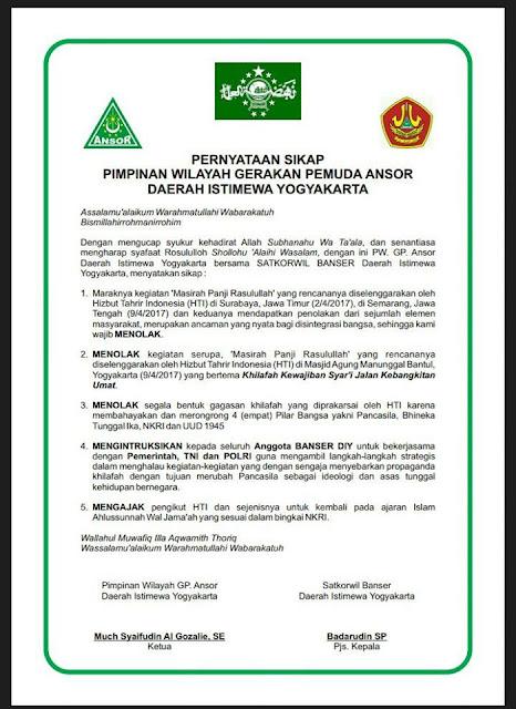 Banser Yogyakarta dengan Tegas Menolak Aksi Propaganda Khilafah HTI