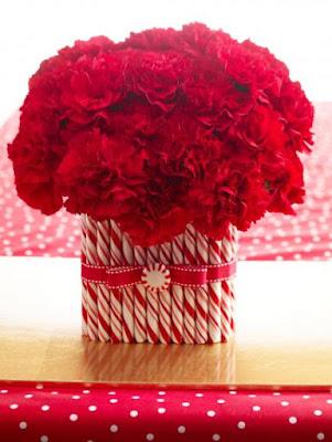 photo idee deco table noel rouge et blanc