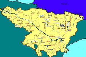 Mapa de localización del río Ebro y sus afluentes