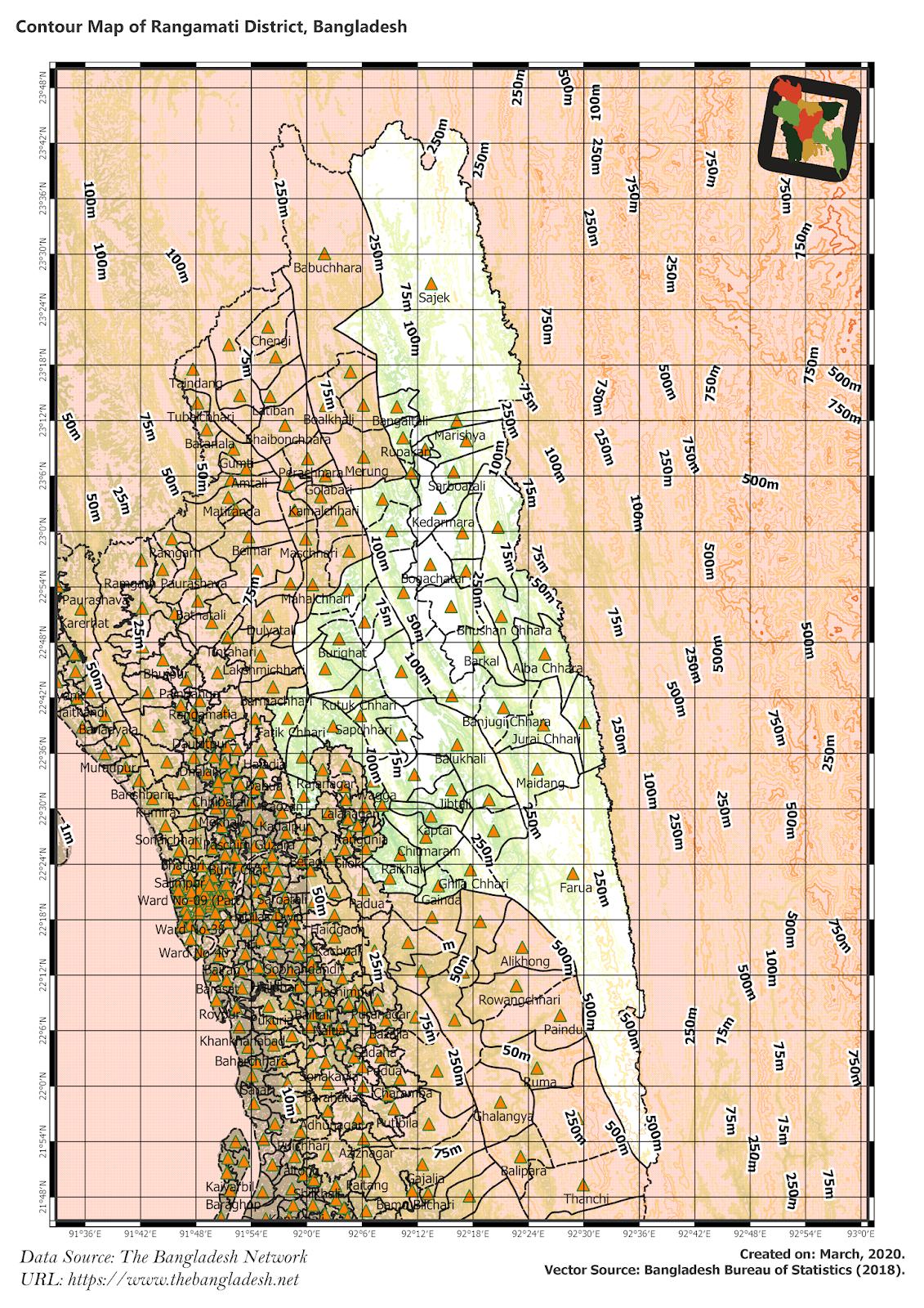 Elevation Map of Rangamati District of Bangladesh