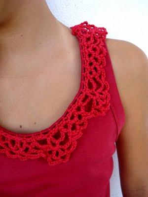 Como hacer un Cuello de Crochet a una Camiseta