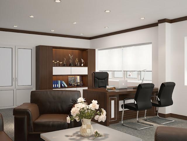 Thiết kế nội thất phòng giám đốc sử dụng cửa kính có rèm che sẽ giúp tận dụng được nguồn ánh sáng tự nhiên và không khí thoáng đáng cho căn phòng