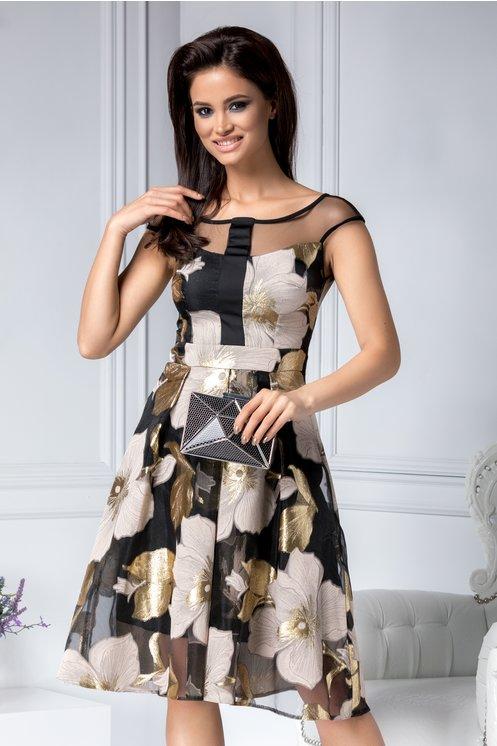 Rochie marime mare 2XL, 3XL de ocazie neagra cu imprimeu floral crem-auriu